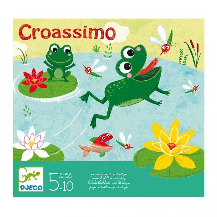Engeltjes & Draken | Djeco | Croassimo (5+) Help de kikkers de muggen te vangen door van lelieblad naar lelieblad te springen. Maar kijk uit voor de gulzige vissen. #djeco #croassimo #kikkerspel #gezelschapsspel #bordspel #spelletje