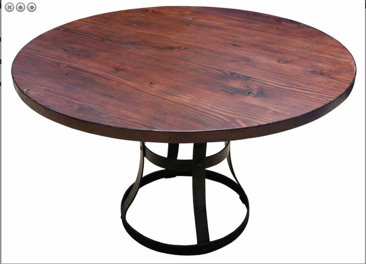 Detroit Round Reclaimed Douglas Fir Custom Dining Table With Iron Base (Los  Angeles) By