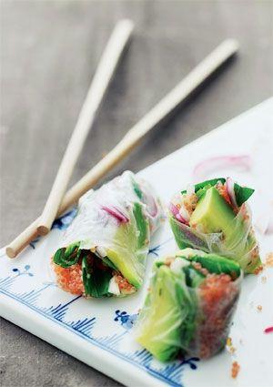 Stenbiderrogn med avocado i thai-rulle | Mad & Bolig