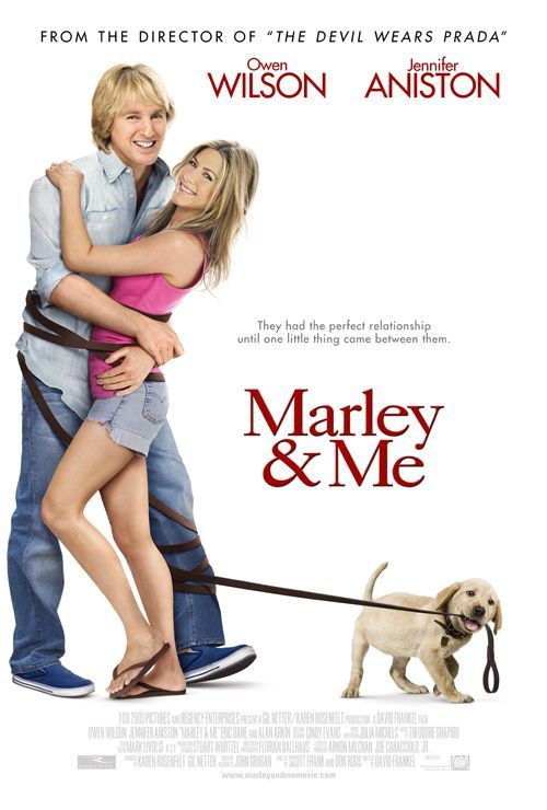Marley and Me (2008): USA 20th Century Fox Fox 2000 / Relativity D: David Frankel. Excellent adaptation of the wonderful book charting life with the irrepressible Marley, a dog blessed with characteristics that all canine owners will relate to. Fun, funny and very touching. Owen Wilson, Jennifer Aniston, Alan Arkin, Eric Dane, Kathleen Turner. (6/10) 12/07/16