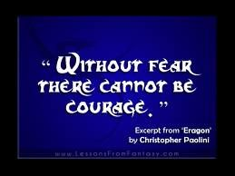 This shows that Eragon is very open-minded because he realises why we have fear and how courage can come from it.