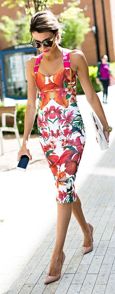 Floral dress with nude heels