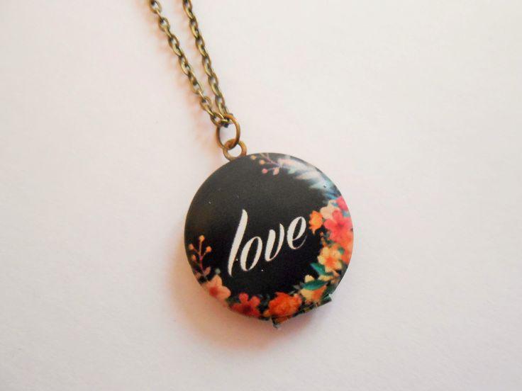 collier love - collier fleurs- collier porte photo - collier pendentif porte photo - collier photo - collier pendentif : Collier par esthete-bijoux