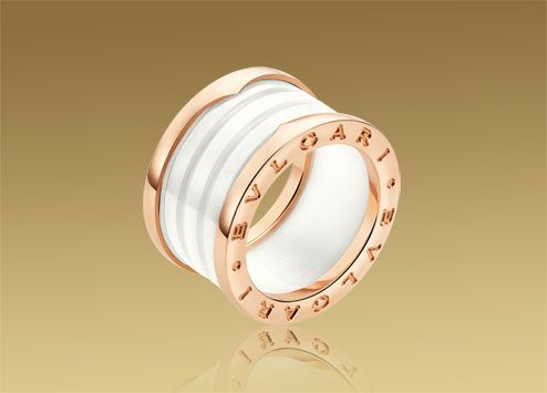 bvlgari 4 band ring in 18kt pink gold with white ceramic