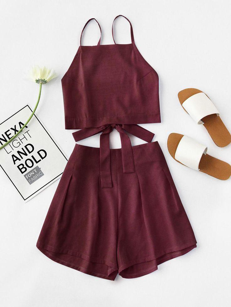 #AdoreWe #SheIn SheIn Bow Tie Open Back Cami Top And Shorts Set - AdoreWe.com