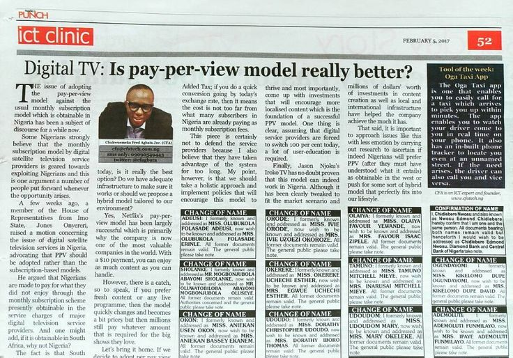 """CFA writes in today's Punch Newspaper """"Digital TV: Is pay-per-view model really better?"""" - http://j.mp/2lbTgy3 #punchnewspaper #ictclinic"""