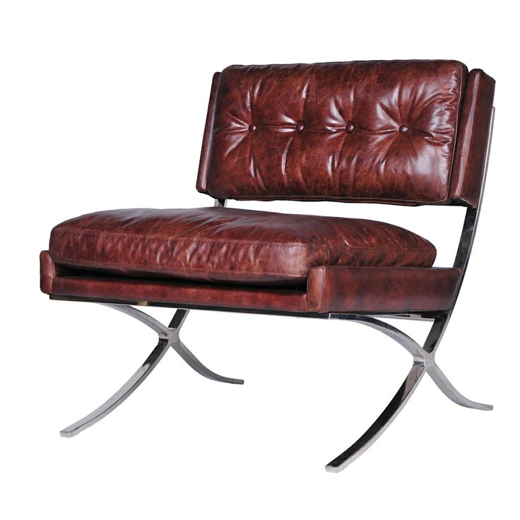 From Furniturelandsouth.com · Four Hands Carnegie Heathrow Lounge Chair  With Chrome Finished Legs And A Button Tufted Low Sitting