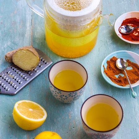Pep-up tea recipe - ginger-turmeric-cayenne pepper-lemon-raw honey