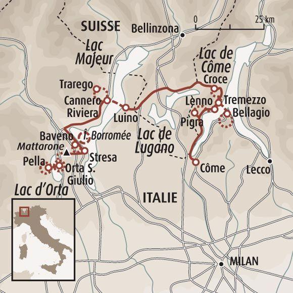 Circuit carte Italie : Trilogie des lacs : Côme, Majeur et Orta