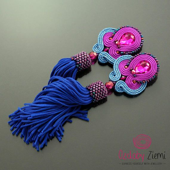 Magenta Tassel Earrings, Pink Tassel Earrings, Pink Dangle Earrings, Blue Tassel Earrings, Hot Pink Earrings, Clip-on Soutache, Blue Fringe