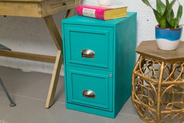 Check out HGTV.com to see how to turn a boring filing cabinet into a stylish statement piece.