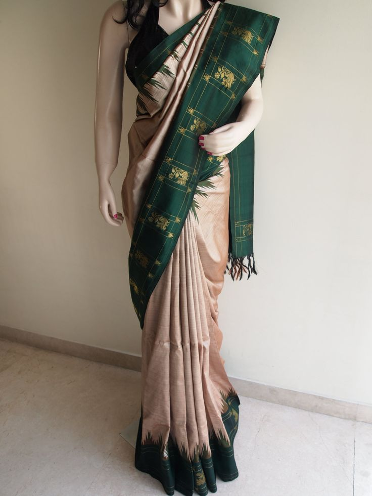 Beige & Green Pure South Silk Saree