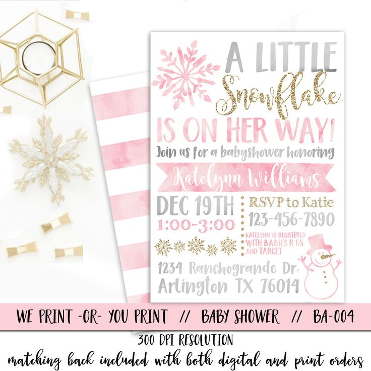 Snowflake Baby Shower Invitation, Winter Baby Shower Invitation, Winter Wonderland Baby Shower Invitation, Girl Snowflake Baby Shower by qtpaperie on Etsy https://www.etsy.com/listing/485084911/snowflake-baby-shower-invitation-winter