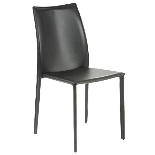 Zuri Furniture Noel Leather Stackable Dining Side Chair In Black