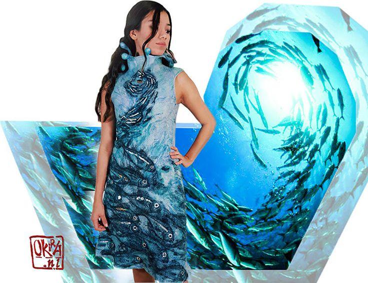 Felt Art By Kira Outembetova. ` Underwater Dance ` Dress