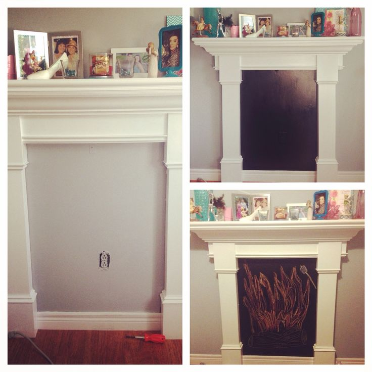 Faux mantel decore! Empty space turned into a chalkboard #fauxmantel #diy #chalkboard #chalkboardpaint #fireplace