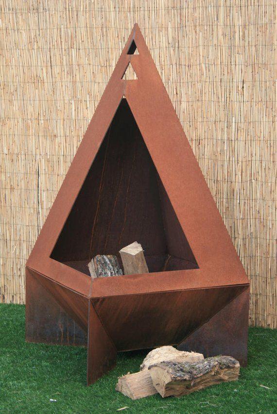 Chiminea Modern Fire Pit Steel Enclosed Fire Pit Modern Fire Pit Fire Pit Essentials Backyard Fire