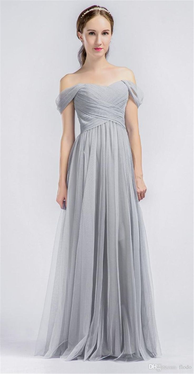 2017 Cheap Off Shoulder Gray Tulle Long Bridesmaids Dresses Floor Length Pleated Wedding Party Dress Maid Of Honor Gowns Under 100 Formal Gowns Gold Bridesmaid Dresses From Flodo, $70.43| Dhgate.Com
