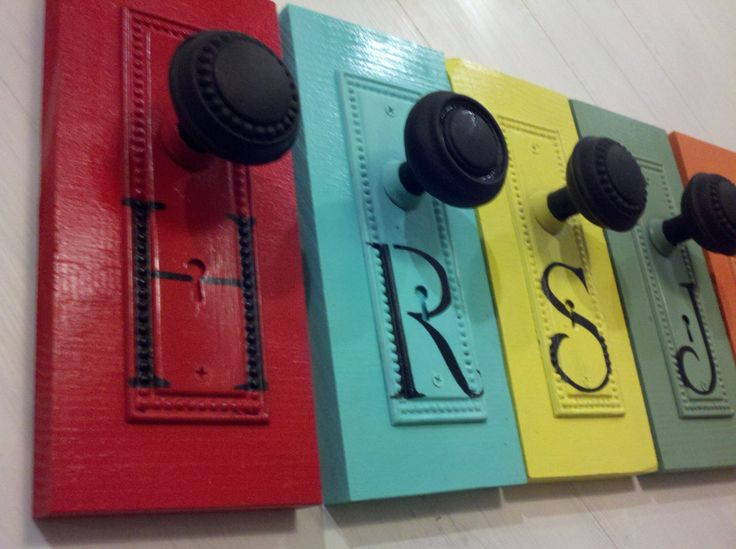 Back Pack Hangers, Personalized, Children's Back Pack Hangers,  Antique,  Architectural Salvage Door Knobs, Back Plates, Initials, Lettersch by RagtagStudio on Etsy