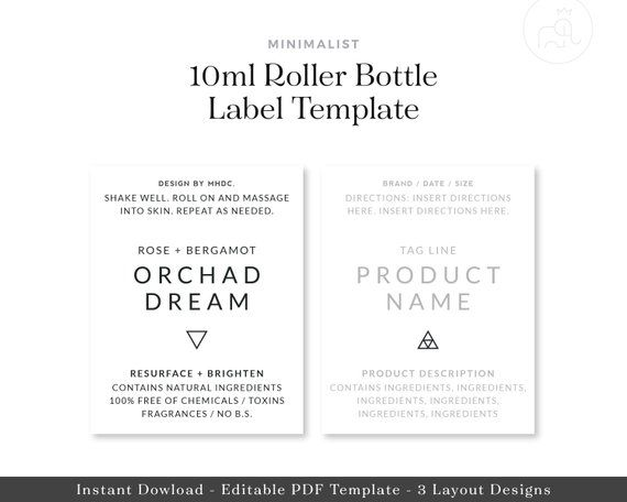 10ml Roller Bottle Label Template Essential Oil Label Minimalist Bottle Label Template Roller Bottle Labels Bottle Labels Printable