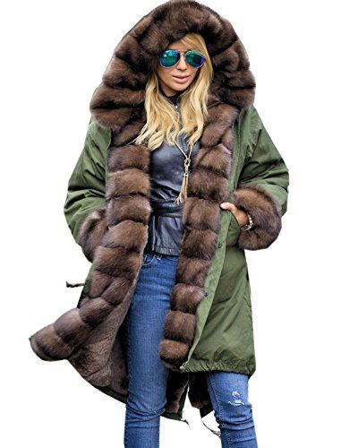 Roiii Womens Long Sleeve Winter Parka Thick Faux Fur Hooded Coat Jacket Overcoat (XXX-Large, Green)