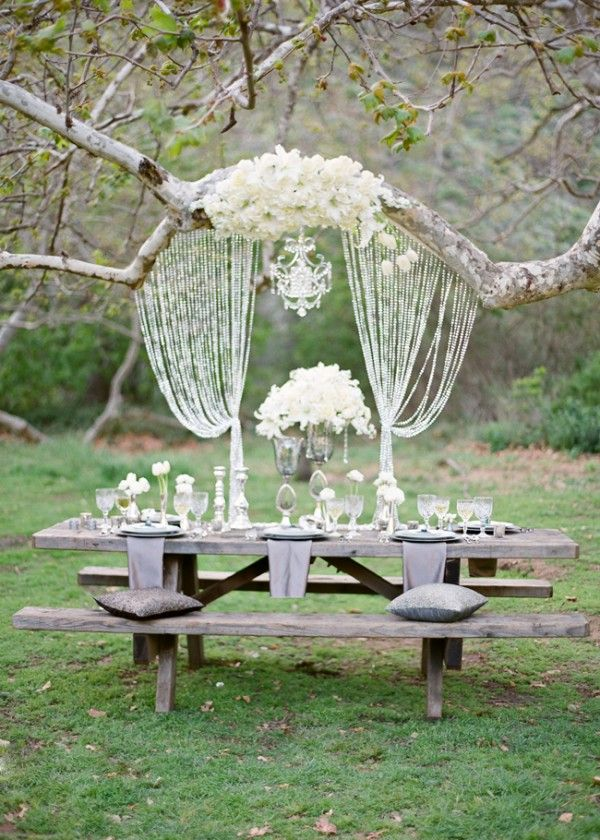 This is simply delightful!: Crystals, Outdoor Wedding, Ideas, Tables Sets, Parties, Trees, Beads Curtains, Picnics Tables, Head Tables