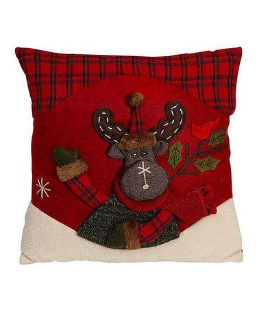 Red & Green Moose Throw Pillow #zulily #zulilyfinds
