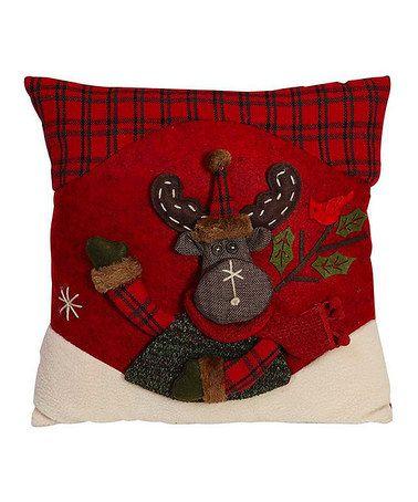 Red & Green Moose Throw Pillow