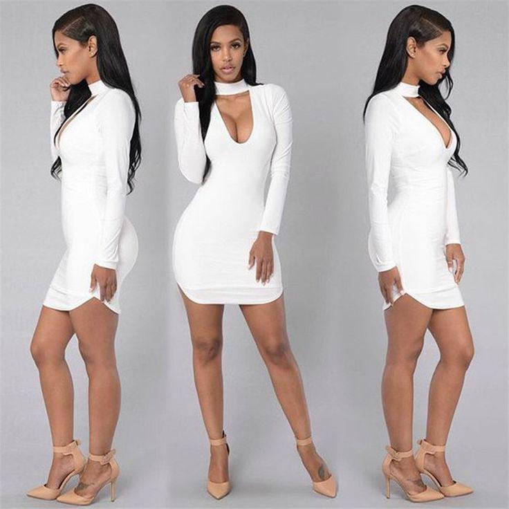 Sexy Women Dress V-Neckline Cross Straps Front Long Sleeve Bodycon Bandage Dress Mini Club Dress