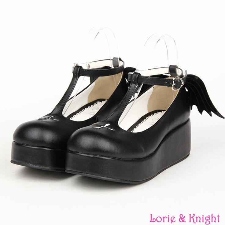 Custom Japanese Goth Lolita Cosplay Ankle T-strap Shoes Platform Heel…