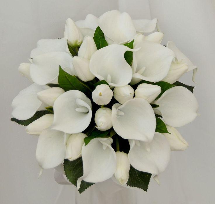 SILK WEDDING FLOWER LATEX WHITE CALLA LILY TULIP FLOWERS POSY BOUQUETS FLOWR