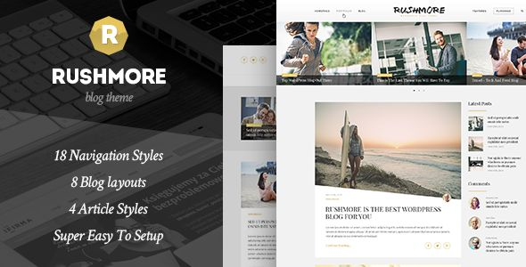 RushMore - A Responsive WordPress Blog Theme RushMore is a modern theme for blogging with 6 pre-defined home pages for tech, food, fashion, lifestyle, fitness and general content. RushMore supports all kinds of post format (video, gallery, audio, chat, aside, standard) so you can write great content.
