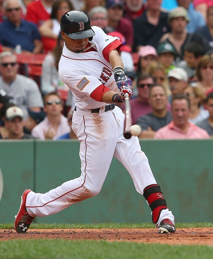 BOSTON, MA - JULY 4: Mookie Betts #50 of the Boston Red Sox knocks in a run in the second inning against the Houston Astros at Fenway Park on July 4, 2015 in Boston, Massachusetts. (Photo by Jim Rogash/Getty Images) Boston Red Sox Team Photos - ESPN