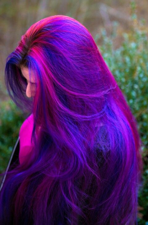 HairByLizzy: Dark royal blue purple pink dyed hair. I would TOTALLY DO IT