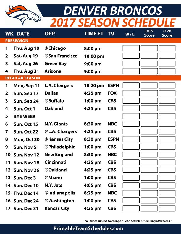 Denver Broncos Football Schedule 2017