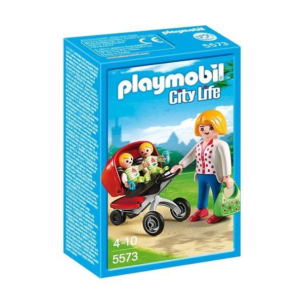 En helt vanlig dag för mamma och hennes söta små tvillingar i Playmobil City Life!! Innehåller 3 Playmobil-figurer, vagn och små tillbehör. Kombinera detta set med andra Playmobil -set för att göra din egna Playmobilvärld lite större och lite roligare. 15 delar. För barn över 4 år.