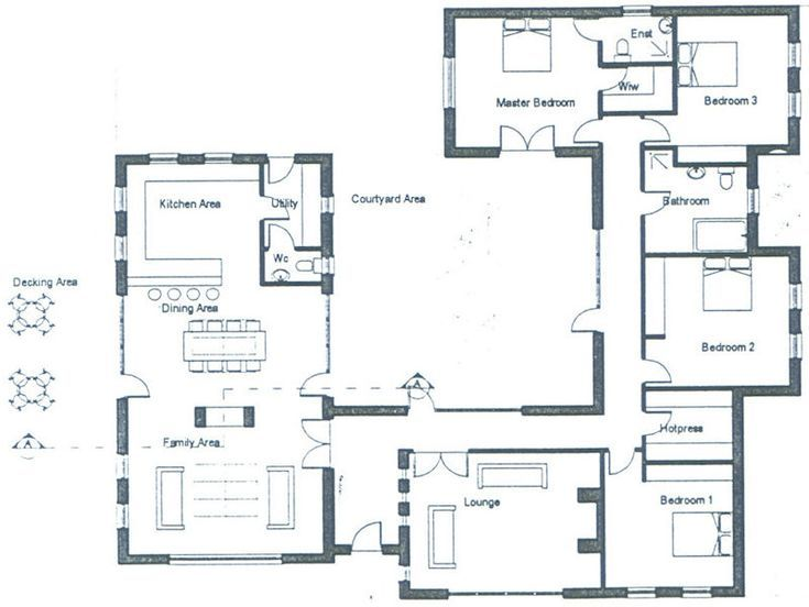 Note The Open Plan Kitchen Dining Living Room In 2020 Bungalow House Plans Modern Bungalow House Open House Plans