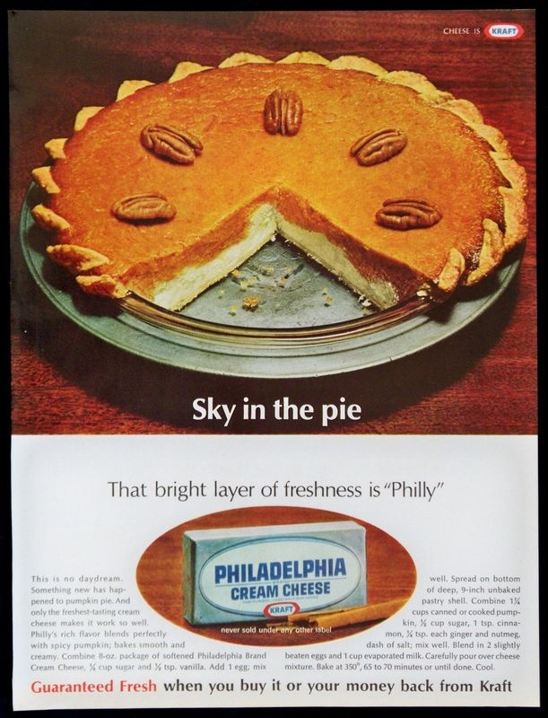 #Vintage ad for Philadelphia Cream Cheese with Pumpkin Pie recipe