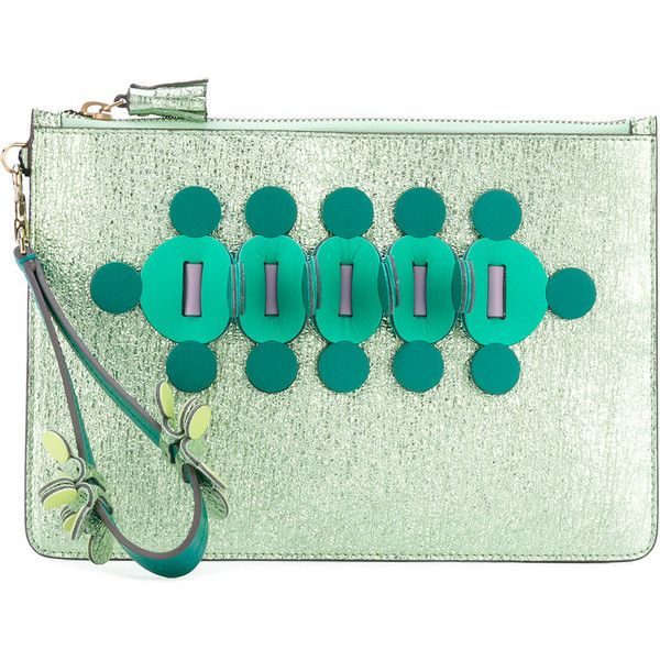 Anya Hindmarch Large Zip Top Clutch ($795) ❤ liked on Polyvore featuring bags, handbags, clutches, green, anya hindmarch purse, embellished purse, green handbags, green purse and anya hindmarch handbags