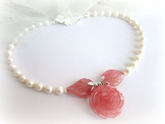 Freshwater pearl necklace rose flower by MalinaCapricciosa on Etsy