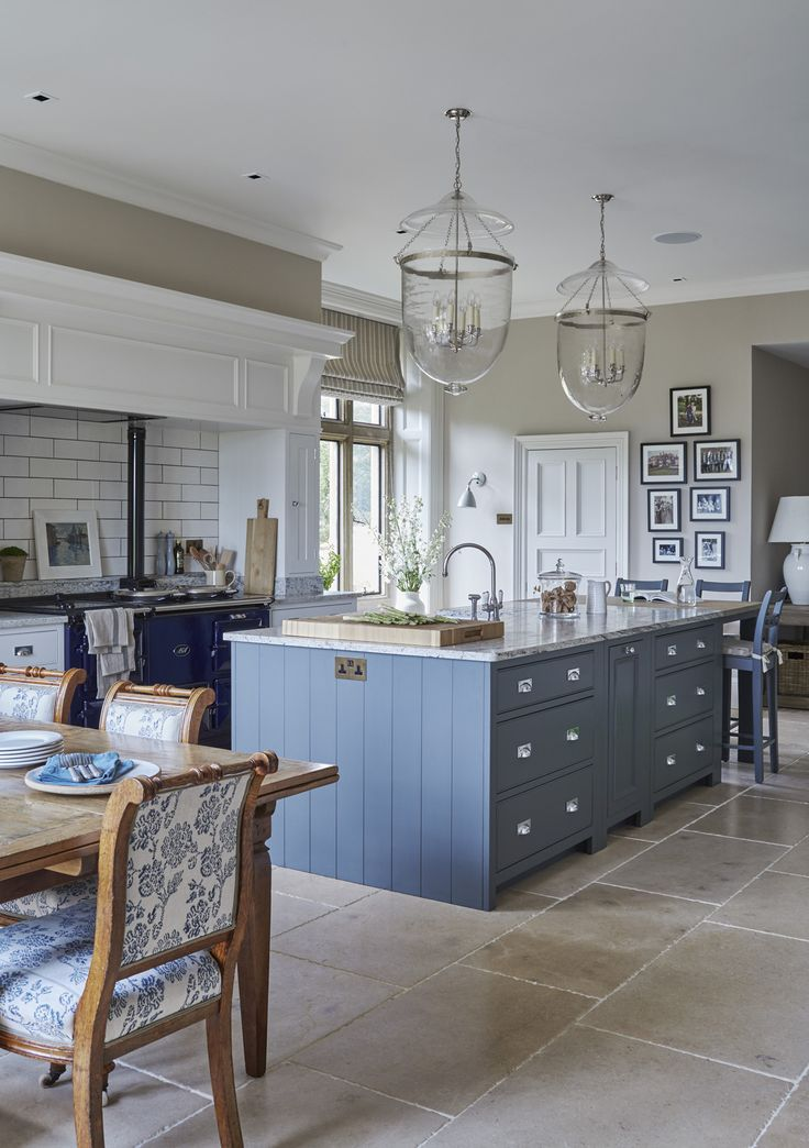 Blue And White Kitchen Ideas Part - 39: Lovely Stone Floor In This Colourful Kitchen. #stone #flagstones