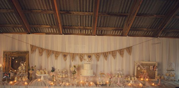 Make an easy-peasy customizable banner with some twine, a stencil, and burlap: | 24 DIY Decorations That Will Make Any Wedding Look Like A Million Bucks