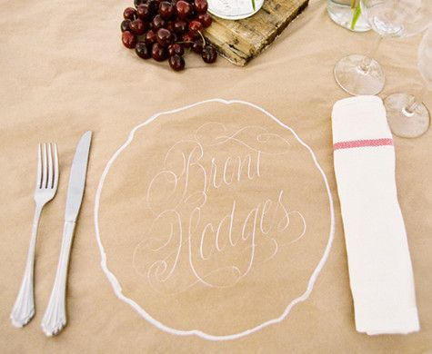 Such an easy, rustic dinner party idea: hand drawn table settings