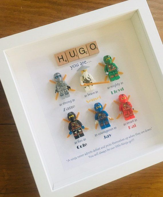 Handmade 3D Personalized Box Picture Frame Lego Ninjago Scrabble Uncle Brother Son Grandson Godson Nephew Boy Bedroom Decor Father's Day