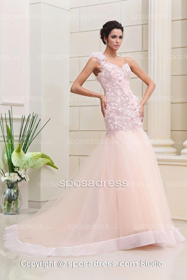 Awesome Pink Mermaid One Shoulder Court Train Color Wedding Dress Sposadress
