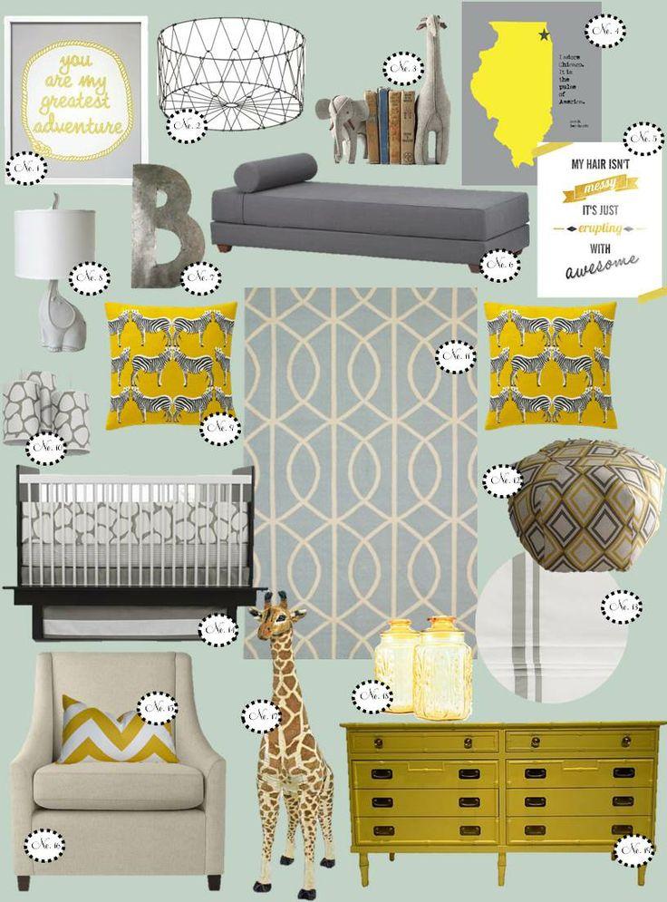 nursery inspiration, yellow & grey nursery