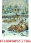 Winter Deer Garden Flag