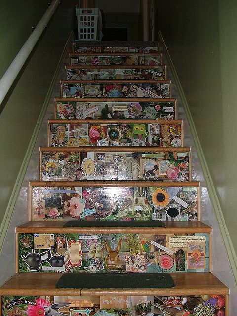 Decoupaged Staircase- basement.  paint, then use stickers with different sayings & from different brands