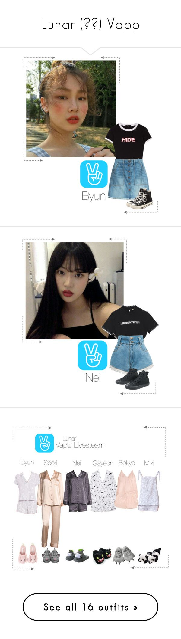 """Lunar (루나) Vapp"" by lunar-official ❤ liked on Polyvore featuring Current/Elliott, Converse, lunarvapp, Neiman Marcus, Equipment, Three J NYC, Natori, Eberjey, Tee and Cake and Vans"