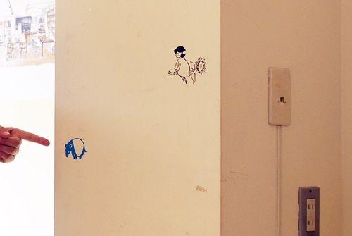 自作ウォールステッカーを壁に貼ったところ